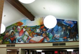 """Installed Mural at the Hoyt Lakes Library. 22' in length, 7' 8"""" in the center"""